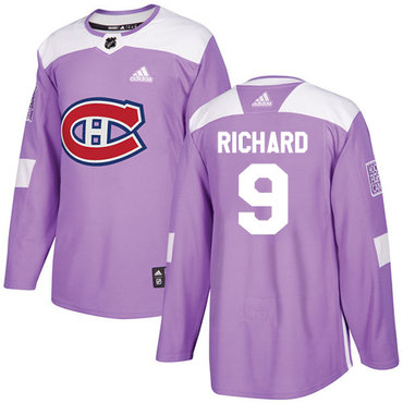 Adidas Canadiens #9 Maurice Richard Purple Authentic Fights Cancer Stitched NHL Jersey