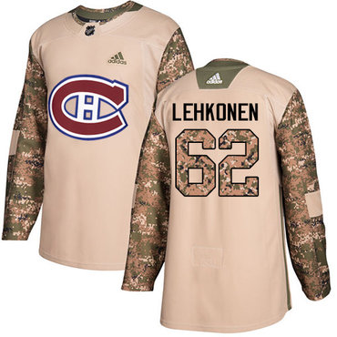 Adidas Canadiens #62 Artturi Lehkonen Camo Authentic 2017 Veterans Day Stitched NHL Jersey