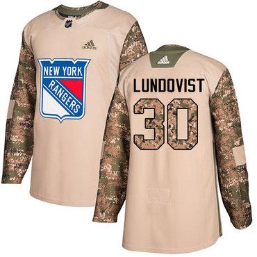 Adidas Rangers #30 Henrik Lundqvist Camo Authentic 2017 Veterans Day Stitched NHL Jersey