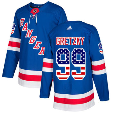Adidas Rangers #99 Wayne Gretzky Royal Blue Home Authentic USA Flag Stitched NHL Jersey