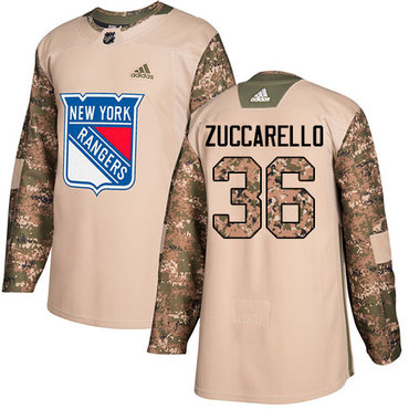 Adidas Rangers #36 Mats Zuccarello Camo Authentic 2017 Veterans Day Stitched NHL Jersey