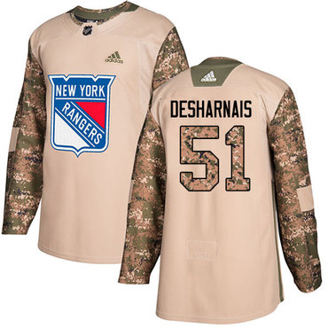 Adidas Rangers #51 David Desharnais Camo Authentic 2017 Veterans Day Stitched NHL Jersey