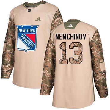 Adidas Rangers #13 Sergei Nemchinov Camo Authentic 2017 Veterans Day Stitched NHL Jersey