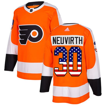 Adidas Flyers #30 Michal Neuvirth Orange Home Authentic USA Flag Stitched NHL Jersey