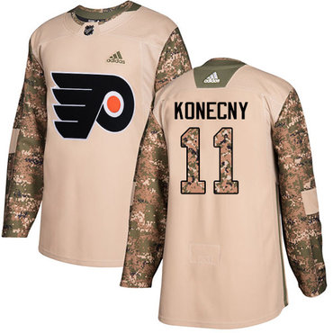 Adidas Flyers #11 Travis Konecny Camo Authentic 2017 Veterans Day Stitched NHL Jersey