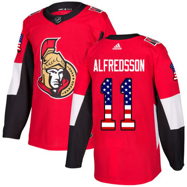 Adidas Senators #11 Daniel Alfredsson Red Home Authentic USA Flag Stitched NHL Jersey