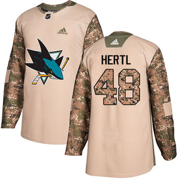 Adidas Sharks #48 Tomas Hertl Camo Authentic 2017 Veterans Day Stitched NHL Jersey