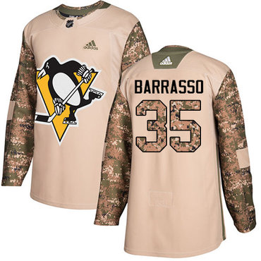Adidas Penguins #35 Tom Barrasso Camo Authentic 2017 Veterans Day Stitched NHL Jersey