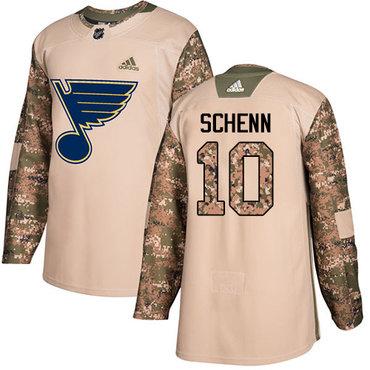 Adidas Blues #10 Brayden Schenn Camo Authentic 2017 Veterans Day Stitched NHL Jersey