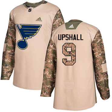 Adidas Blues #9 Scottie Upshall Camo Authentic 2017 Veterans Day Stitched NHL Jersey