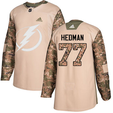 Adidas Lightning #77 Victor Hedman Camo Authentic 2017 Veterans Day Stitched NHL Jersey