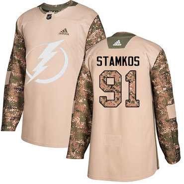 Adidas Lightning #91 Steven Stamkos Camo Authentic 2017 Veterans Day Stitched NHL Jersey