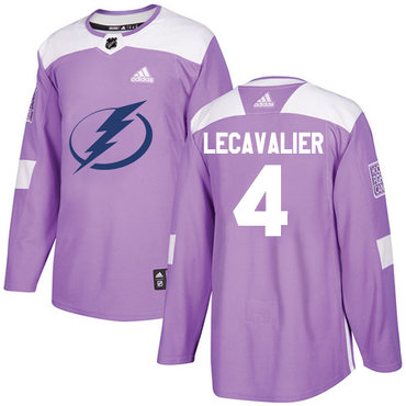 Adidas Lightning #4 Vincent Lecavalier Purple Authentic Fights Cancer Stitched NHL Jersey