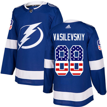Adidas Lightning #88 Andrei Vasilevskiy Blue Home Authentic USA Flag Stitched NHL Jersey