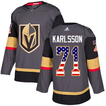 db336b3e6 Adidas Golden Knights #71 William Karlsson Grey Home Authentic USA Flag  Stitched NHL Jersey