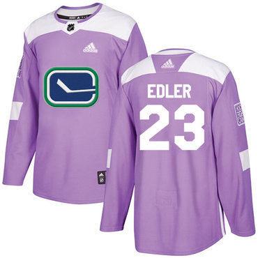 Adidas Canucks #23 Alexander Edler Purple Authentic Fights Cancer Stitched NHL Jersey