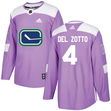Adidas Canucks #4 Michael Del Zotto Purple Authentic Fights Cancer Stitched NHL Jersey