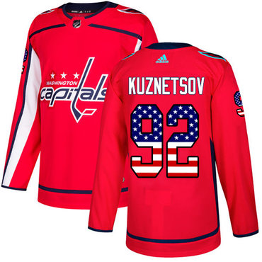 Adidas Capitals #92 Evgeny Kuznetsov Red Home Authentic USA Flag Stitched NHL Jersey