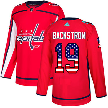 Adidas Capitals #19 Nicklas Backstrom Red Home Authentic USA Flag Stitched NHL Jersey