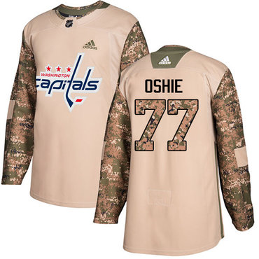 Adidas Capitals #77 T.J. Oshie Camo Authentic 2017 Veterans Day Stitched NHL Jersey