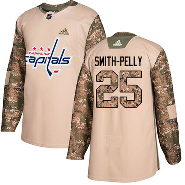 Adidas Capitals #25 Devante Smith-Pelly Camo Authentic 2017 Veterans Day Stitched NHL Jersey