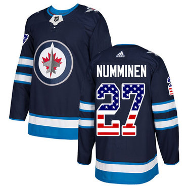 Adidas Jets #27 Teppo Numminen Navy Blue Home Authentic USA Flag Stitched NHL Jersey