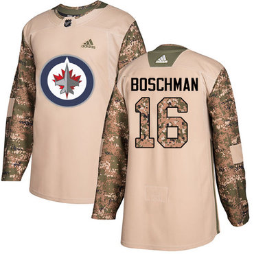 Adidas Jets #16 Laurie Boschman Camo Authentic 2017 Veterans Day Stitched NHL Jersey