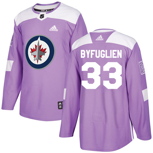 Adidas Jets #33 Dustin Byfuglien Purple Authentic Fights Cancer Stitched NHL Jersey