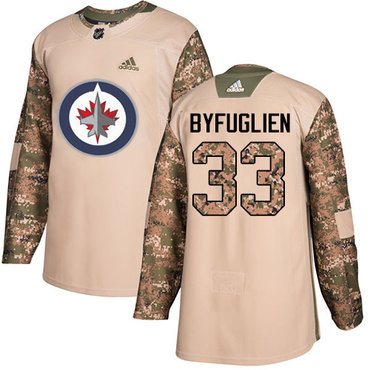 Adidas Jets #33 Dustin Byfuglien Camo Authentic 2017 Veterans Day Stitched NHL Jersey