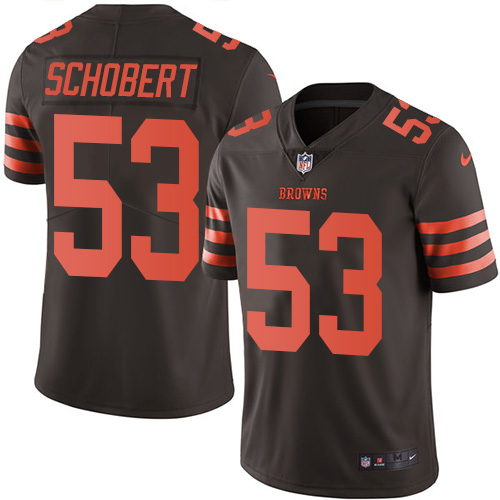 Nike Browns #53 Joe Schobert Brown Men\'s Stitched NFL Limited Rush Jersey