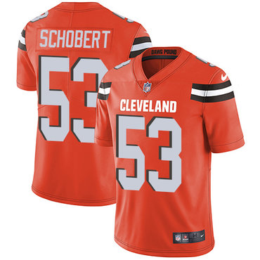 Nike Browns #53 Joe Schobert Orange Alternate Men\'s Stitched NFL Vapor Untouchable Limited Jersey