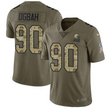 Nike Browns #90 Emmanuel Ogbah Olive Camo Men\'s Stitched NFL Limited 2017 Salute To Service Jersey