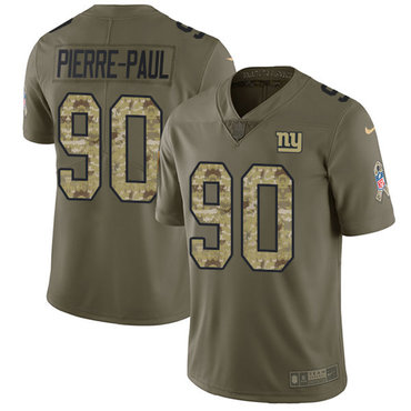 Nike Giants #90 Jason Pierre-Paul Olive Camo Men's Stitched NFL Limited 2017 Salute To Service Jersey