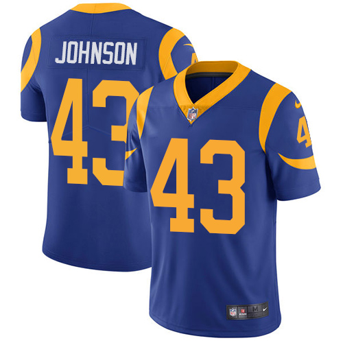 Nike Rams #43 John Johnson Royal Blue Alternate Men\'s Stitched NFL Vapor Untouchable Limited Jersey