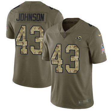 Nike Rams #43 John Johnson Olive Camo Men\'s Stitched NFL Limited 2017 Salute To Service Jersey