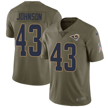 Nike Rams #43 John Johnson Olive Men\'s Stitched NFL Limited 2017 Salute To Service Jersey