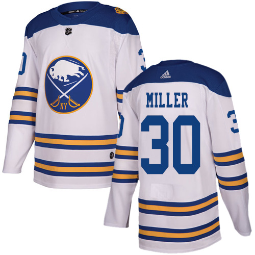 Adidas Sabres #30 Ryan Miller White Authentic 2018 Winter Classic Stitched NHL Jersey