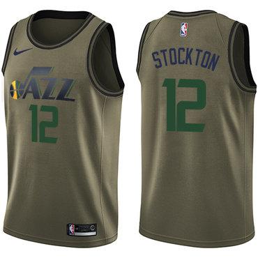 Nike Jazz #12 John Stockton Green Salute to Service NBA Swingman Jersey