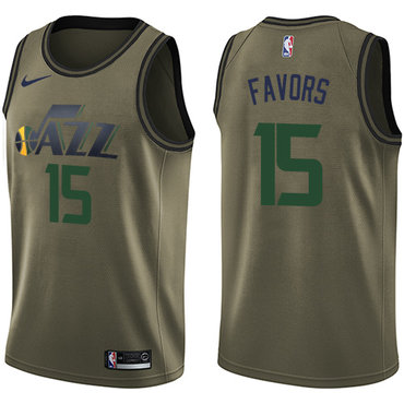 Nike Jazz #15 Derrick Favors Green Salute to Service NBA Swingman Jersey