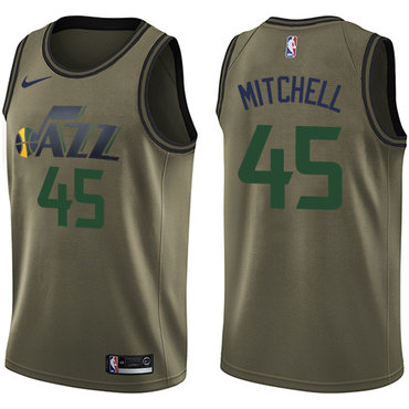 Nike Jazz #45 Donovan Mitchell Green Salute to Service NBA Swingman Jersey