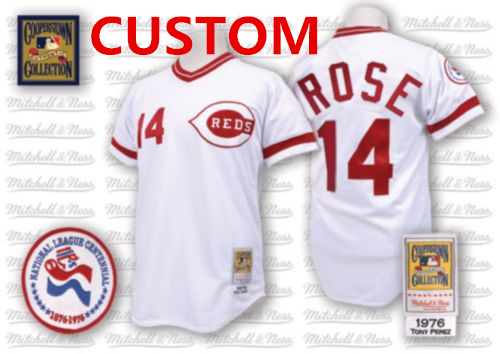 Custom Men's Cincinnati Reds 1976 White Throwback Jersey