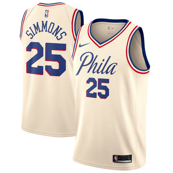 8aebf461 Nike Philadelphia 76ers #25 Ben Simmons Cream NBA Swingman City Edition  Jersey