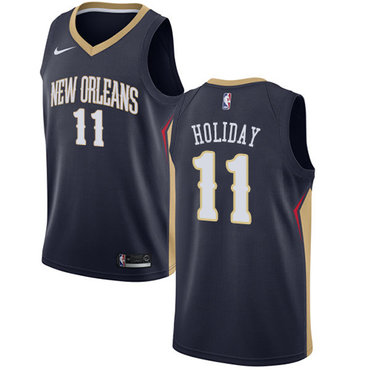 Nike New Orleans Pelicans #11 Jrue Holiday Navy NBA Swingman Icon Edition Jersey