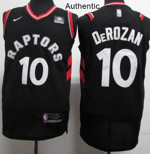 best sneakers 6c3f8 6d312 Nike Toronto Raptors #10 DeMar DeRozan Black NBA Authentic ...