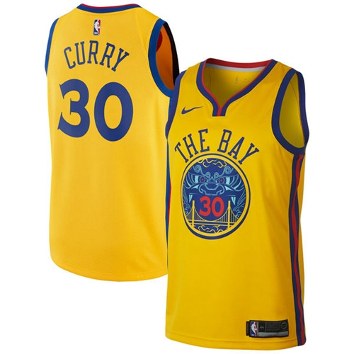 Nike Golden State Warriors #30 Stephen Curry Gold NBA Swingman City Edition Jersey