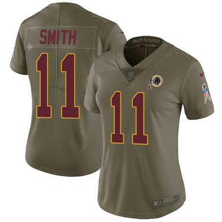 Women's Nike Washington Redskins #11 Alex Smith Olive Stitched NFL Limited 2017 Salute to Service Jersey