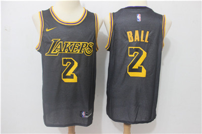 Nike Lakers #2 Lonzo Ball Black Nike City Edition Swingman Jersey