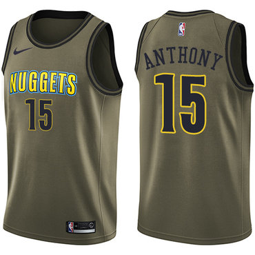 Nike Denver Nuggets #15 Carmelo Anthony Green Salute to Service NBA Swingman Jersey