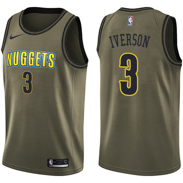 Nike Denver Nuggets #3 Allen Iverson Green Salute to Service NBA Swingman Jersey