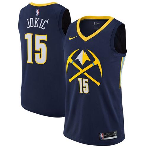73f5f975842 Nike Denver Nuggets #15 Nikola Jokic Navy NBA Swingman City Edition Jersey